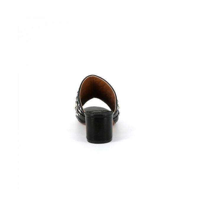Mules clous et strass isalyne noir Cassis Cote Dazur