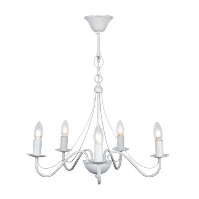 lustre 5 ampoules camille blanc en fer forg blanc keria la redoute. Black Bedroom Furniture Sets. Home Design Ideas