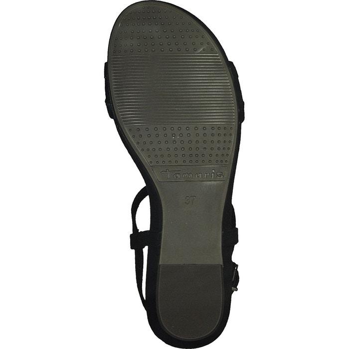 Sandales cuir emilie noir Tamaris