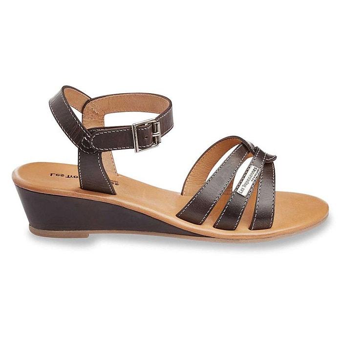 sandales en cuir talons compens s noir les tropeziennes par m belarbi la redoute. Black Bedroom Furniture Sets. Home Design Ideas