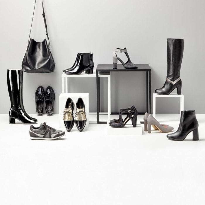 Bottes cuir bandes fantaisie noir La Redoute Collections