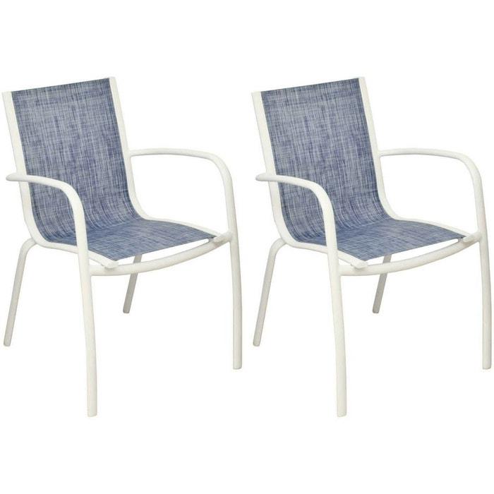 Fauteuil Linea en aluminium et textilène jean\'s (Lot de 2)
