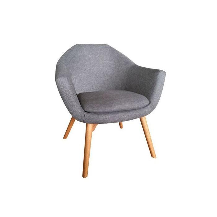 fauteuil cabriolet tissu gris pieds bois 66x74xh76cm oslo2 gris pier import la redoute. Black Bedroom Furniture Sets. Home Design Ideas