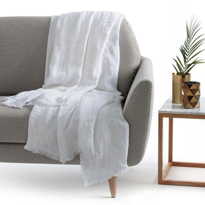 plaid lin lav linange blanc la redoute interieurs la. Black Bedroom Furniture Sets. Home Design Ideas