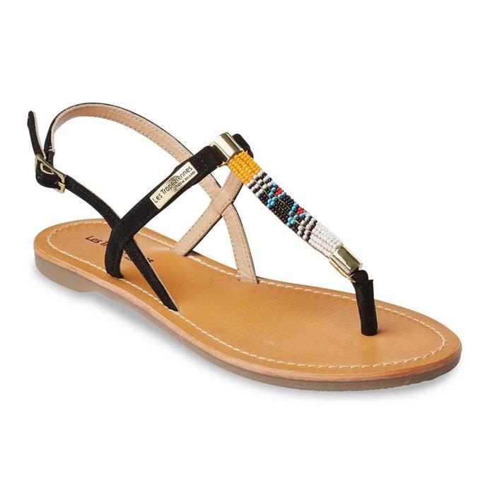 Sandales en cuir odelia, plates à entre-doigts rouge Les Tropeziennes Par M Belarbi