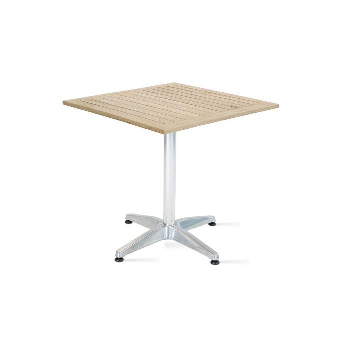 Table de jardin carr e aluminium et bois couleur unique - Table de jardin la redoute ...