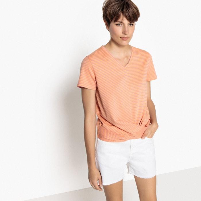 T-shirt, scollo a V, maniche corte, effetto nodo davanti  La Redoute Collections image 0