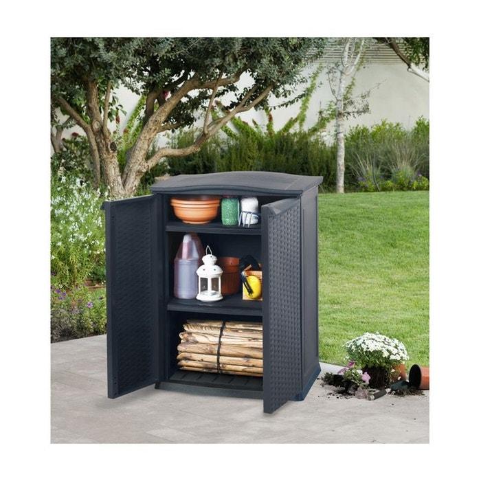 Armoire de jardin basse en résine tressée - 250 l noir Keter | La ...