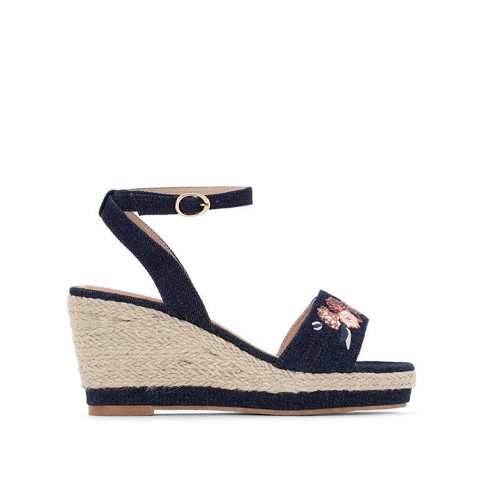 Wide Fit Canvas Wedge Heel Sandals  CASTALUNA image 0