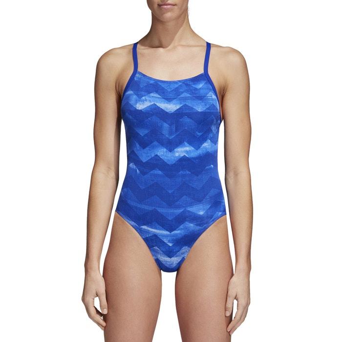 b95c2d7c5a Maillot de bain 1 pièce piscine imprimé Adidas Performance imprimé bleu |  La Redoute