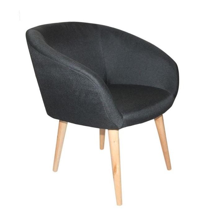 fauteuil cabriolet tissu noir pieds en bois 57x67xh76cm oslo 2 noir pier import la redoute. Black Bedroom Furniture Sets. Home Design Ideas