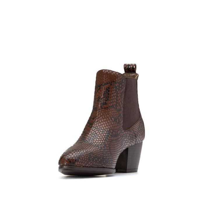 Boots cuir façon python ana cognac Jonak | La Redoute