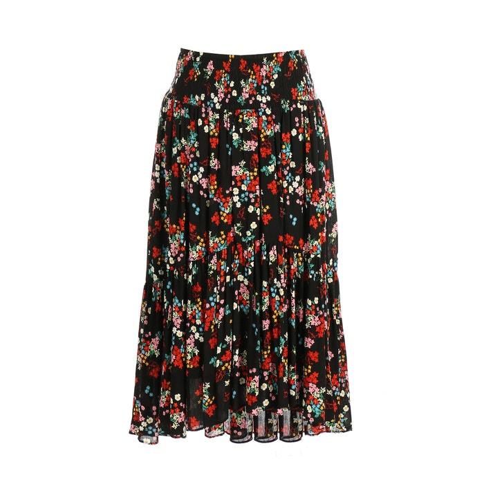 Pleated Floral Print Midi Skirt  RENE DERHY image 0