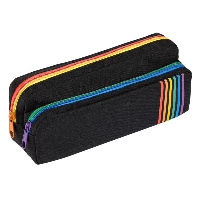 a6021daf16 Trousse scolaire 2 compartiments avec zip de couleur pour enfant - gamme  rainbow class noir Viquel | La Redoute