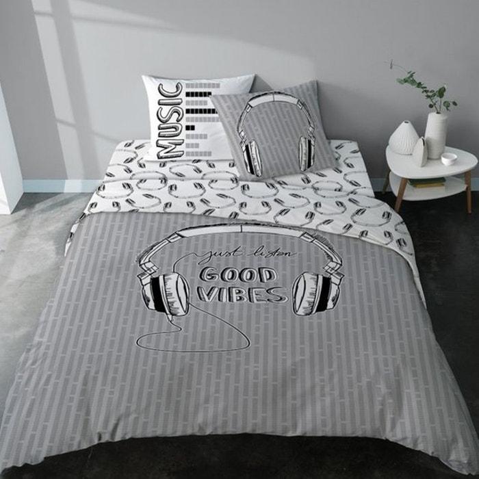 drap housse coton rock ado noir et blanc good vibes blanc selene et gaia la redoute. Black Bedroom Furniture Sets. Home Design Ideas
