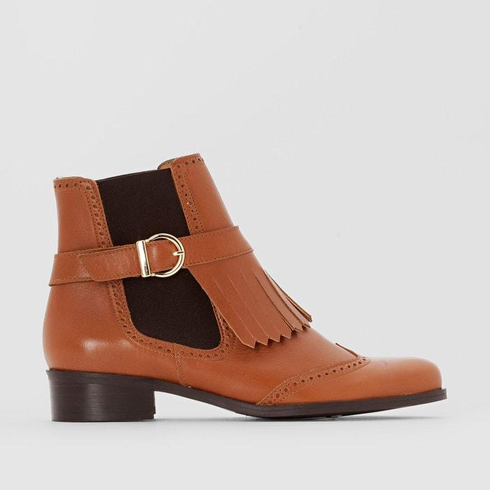 Boots cuir pied large 38-45  noir Castaluna  La Redoute