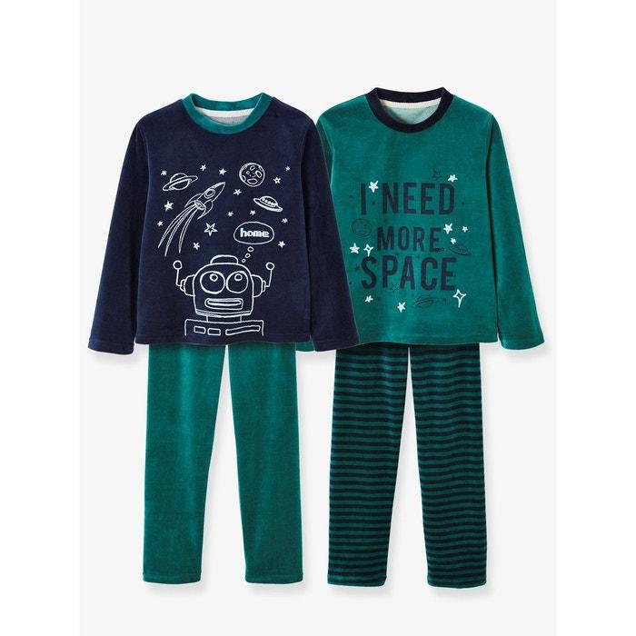 ba757febddf54 Lot de 2 pyjamas velours garçon combinables vert foncé Vertbaudet   La  Redoute