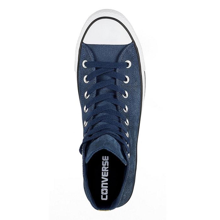 Baskets montantes ctas hi cuir bleu Converse