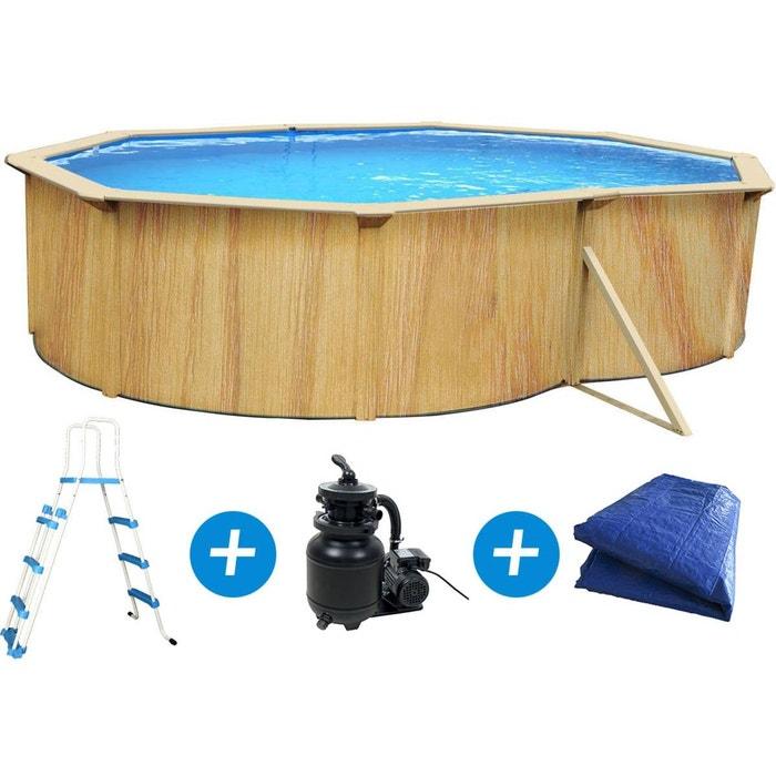 piscine acier ovale aspect bois caracas x x. Black Bedroom Furniture Sets. Home Design Ideas