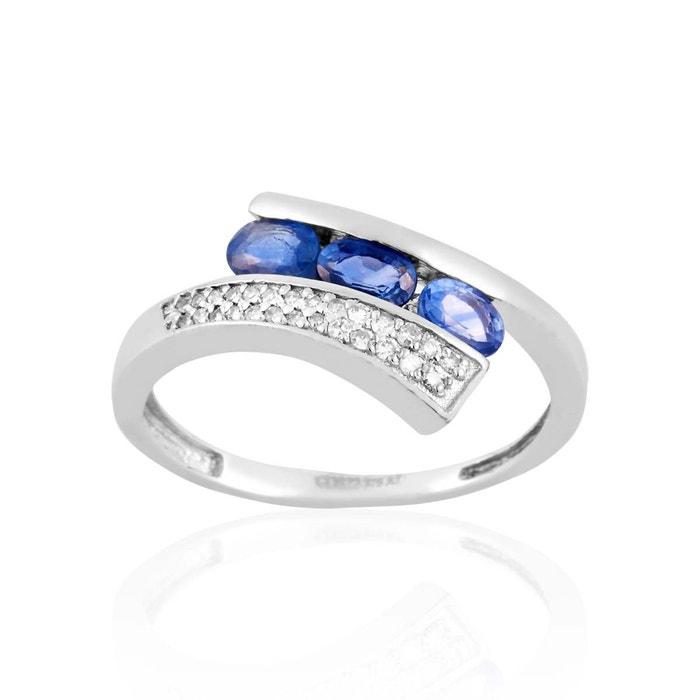 Bague en or 375/1000 blanc, saphir bleu et diamant bleu Cleor   La Redoute