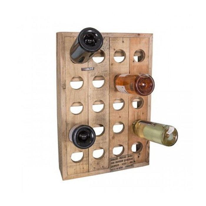 Porte bouteilles mural en bois 20 bouteilles wadiga
