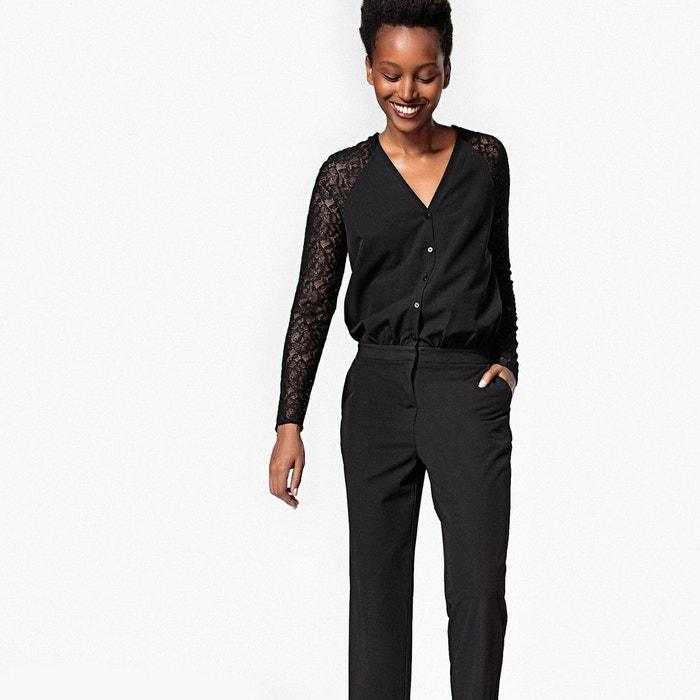 combinaison pantalon manches dentelle noir la redoute. Black Bedroom Furniture Sets. Home Design Ideas