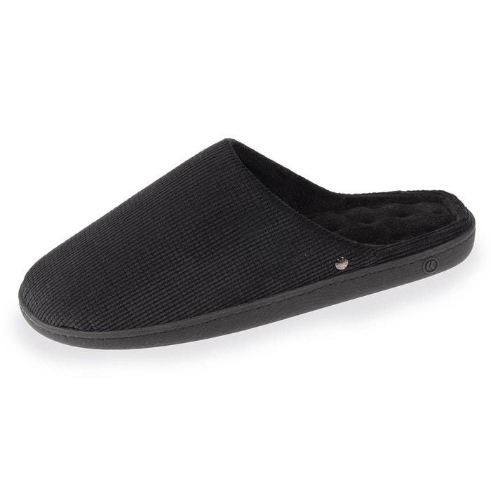 Isotoner Chaussons mules homme classique noir - Chaussures Chaussons Homme