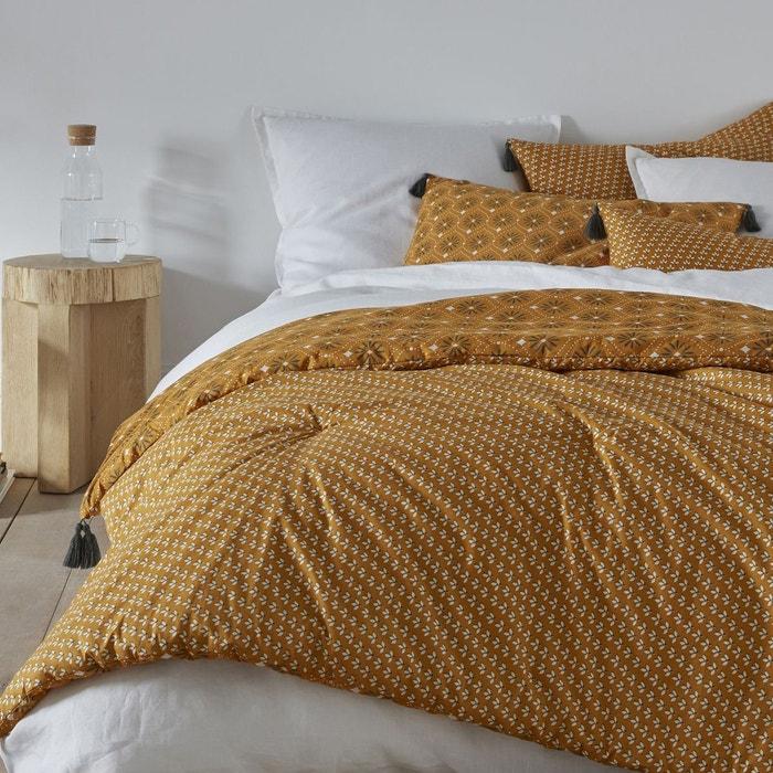 dredon en percale imprim lonie imprim fond ocre la. Black Bedroom Furniture Sets. Home Design Ideas