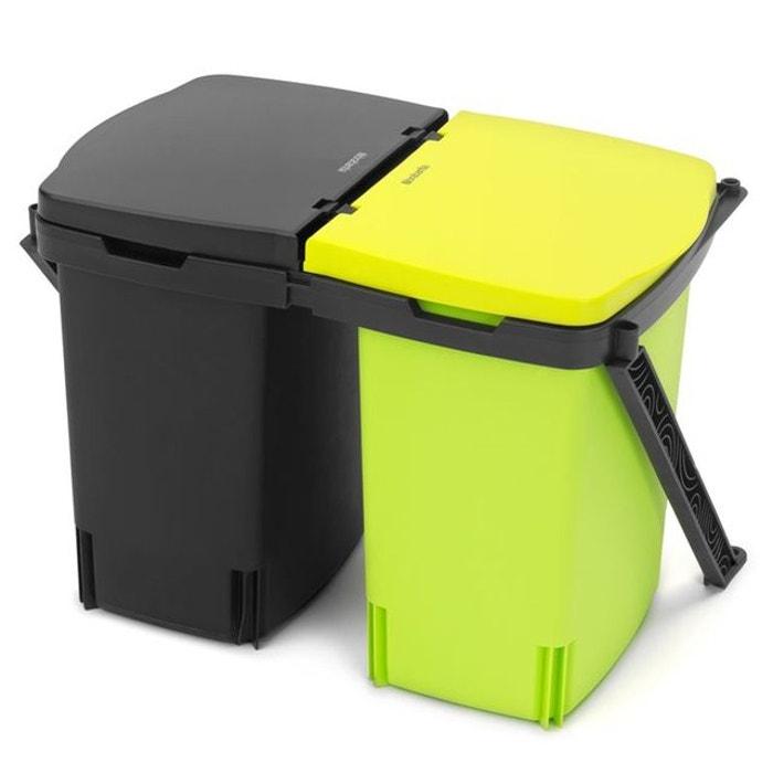 poubelle encastr e brabantia built in 2 x 10 l jaune. Black Bedroom Furniture Sets. Home Design Ideas