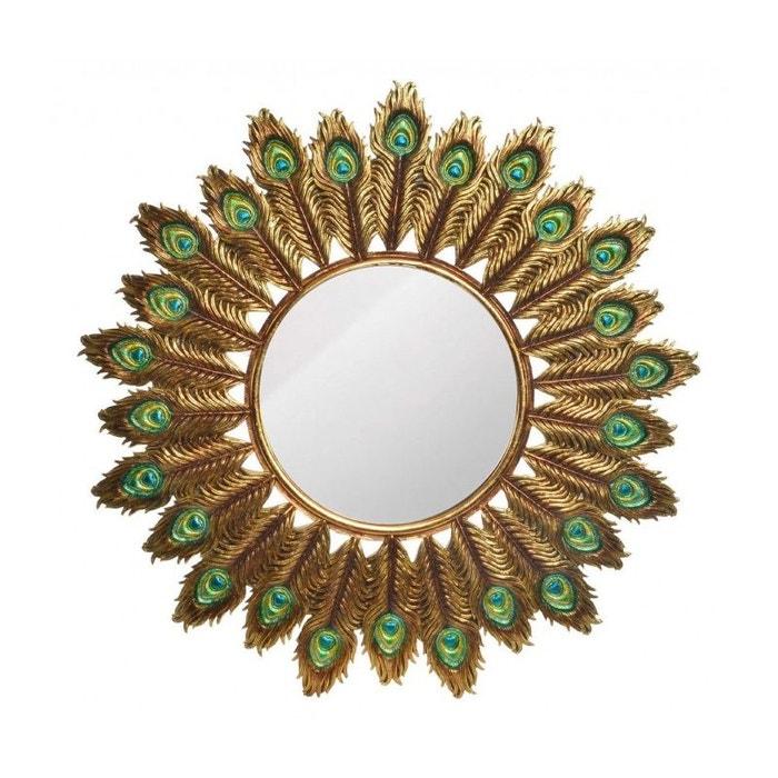 Miroir d co rond dor plumes de paon r sine dor wadiga la redoute for Miroir rond dore