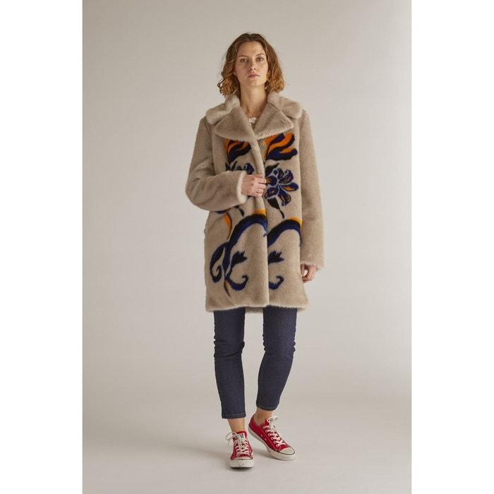 9fed444e6e2 Manteau en fausse fourrure avec un motif - ballon gris Derhy