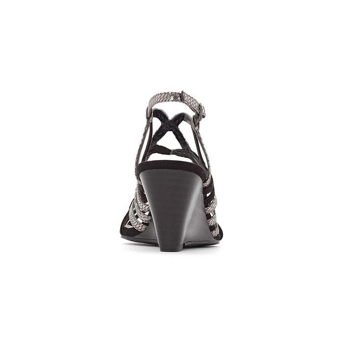Sandales brides métallisées noir Anne Weyburn