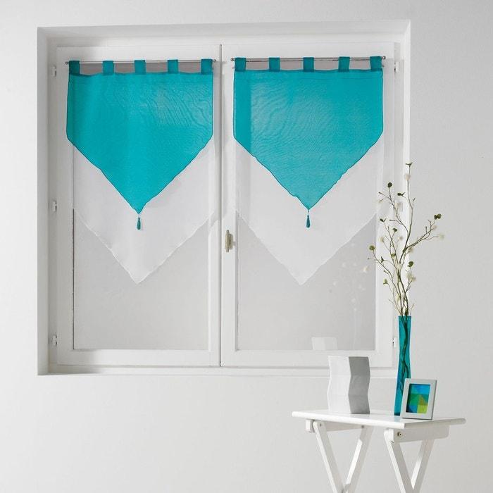 paire de voile pompon rideau passants bicolore voiline douceur d 39 int rieur la redoute. Black Bedroom Furniture Sets. Home Design Ideas