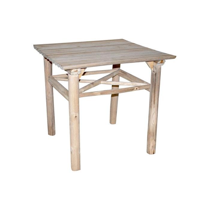 Table Carree En Teck 80 X 80 Cm Refuge Beige Grenier Alpin La