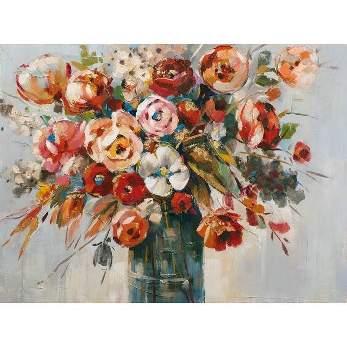 Tableau Fleurs Bouquet Dans Vase Peinture Acrylique Et Feuilles