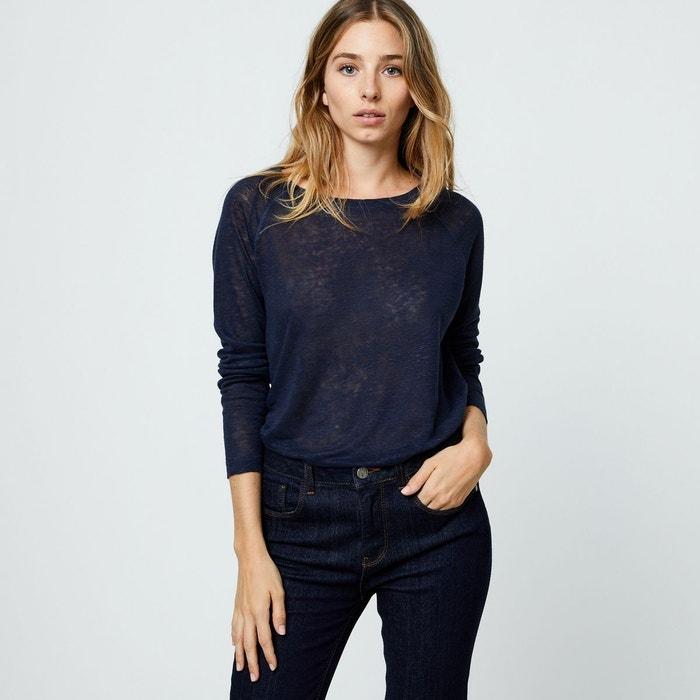 Tshirt en lin uni manches longues bleu Monoprix   La Redoute d87d4f61e691