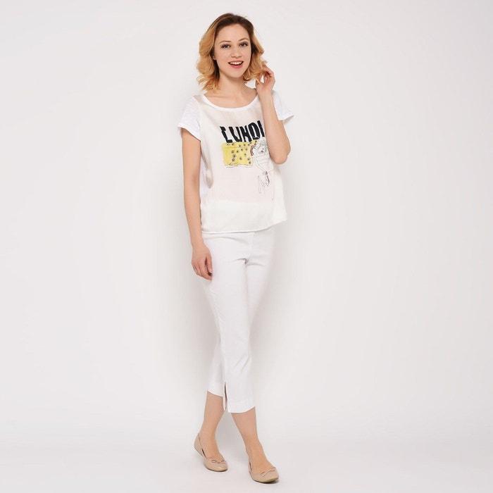 Rond Blanc T Femme Col Shirt Coton gf76by