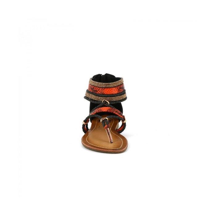 noir Cote Cassis olivier Dazur Sandales plates 07ZC4CR