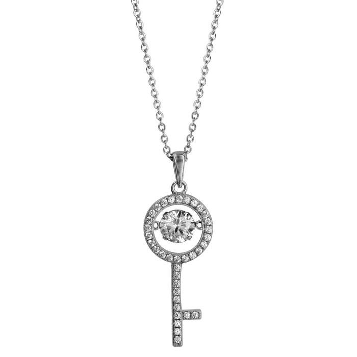 Collier longueur réglable: 41,5 à 44,5 cm pendentif clef oxyde de zirconium blanc argent 925 couleur unique So Chic Bijoux | La Redoute