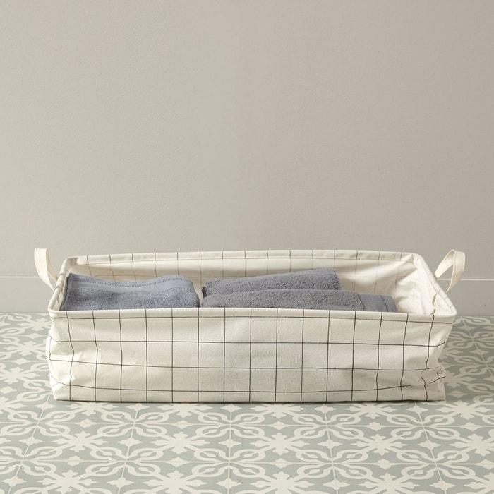 panier de rangement rectangle beige carreaux cyrillus. Black Bedroom Furniture Sets. Home Design Ideas