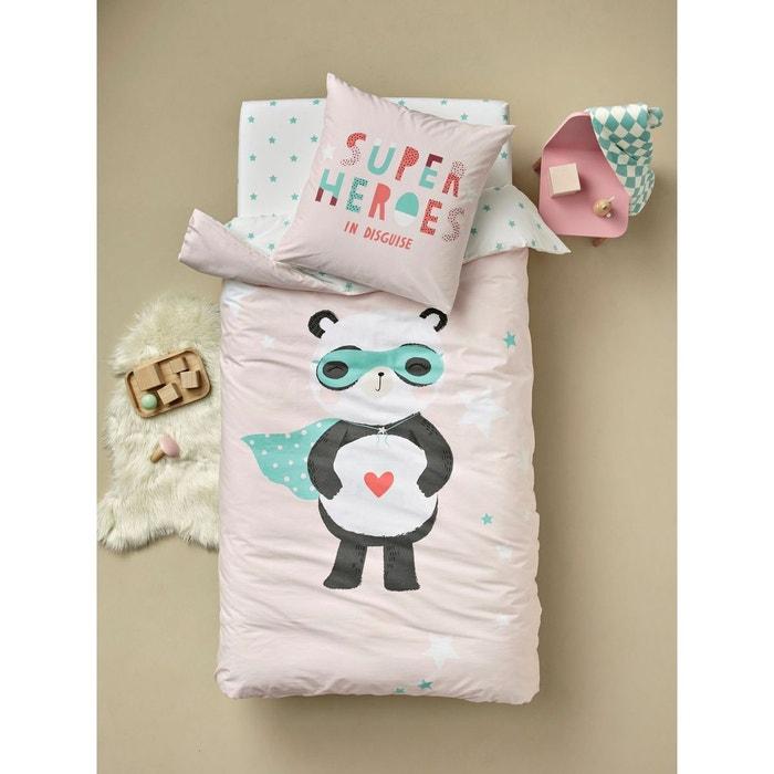 parure housse de couette taie d 39 oreiller enfant super panda rose clair imprim vertbaudet la. Black Bedroom Furniture Sets. Home Design Ideas