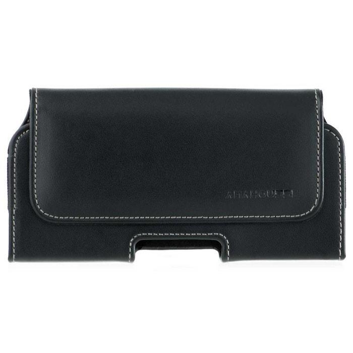 Etui ceinture horizontale en cuir noir pour t l phone 150 mm cuir noir amahousse la redoute - La redoute telephone gratuit ...