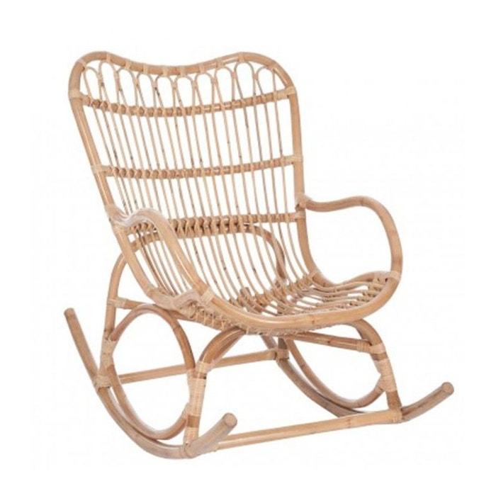 fauteuil bascule rocking chair en rotin naturel marron. Black Bedroom Furniture Sets. Home Design Ideas