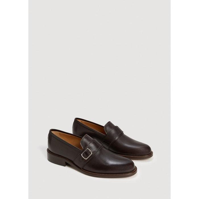 Chaussures monk strap cuir chocolat Mango Man
