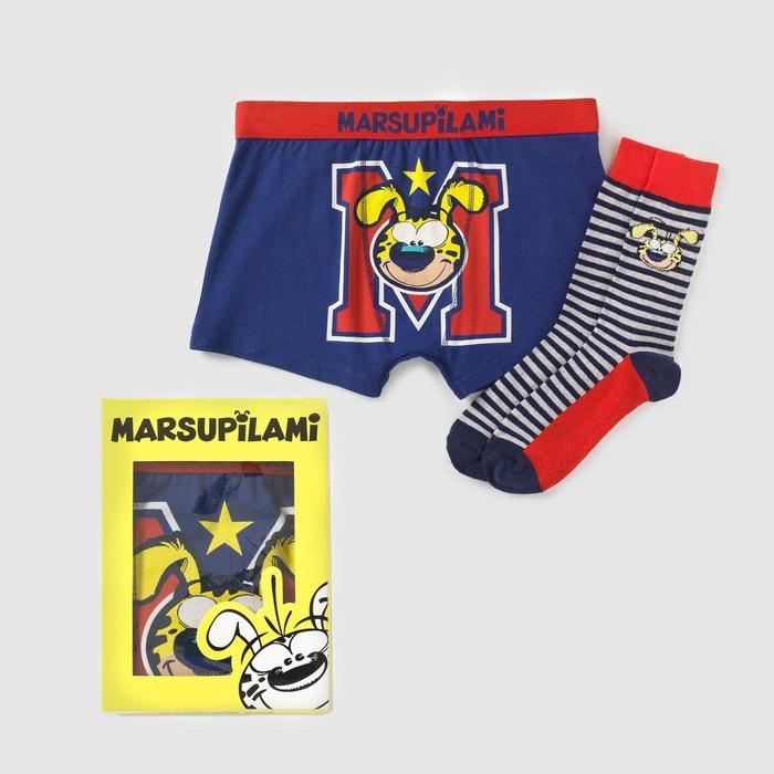 Coffret cadeau boxer + chaussettes marine   rouge Marsupilami   La Redoute 9ca8cf1db47d