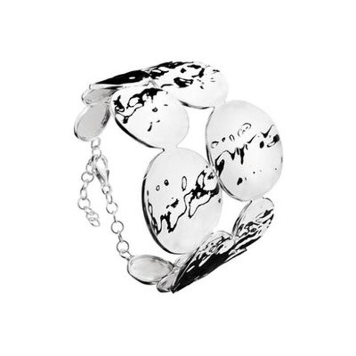 Bracelet manchette martelée en argent 925 passivé, 24.7g, ø60mm argent Canyon   La Redoute
