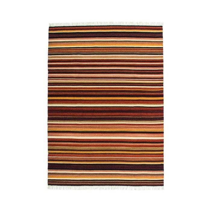 Tapis à franges plat en laine marron maimane marron Deladeco | La ...