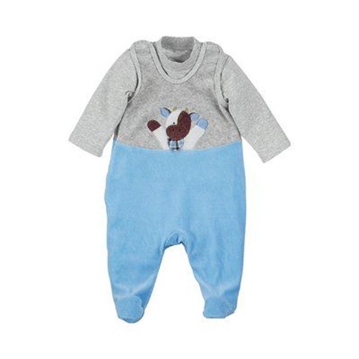 33ab95015267b Sterntaler ensemble grenouillère velours ras wieslinge vache klecks bébé...  gris bleu Sterntaler