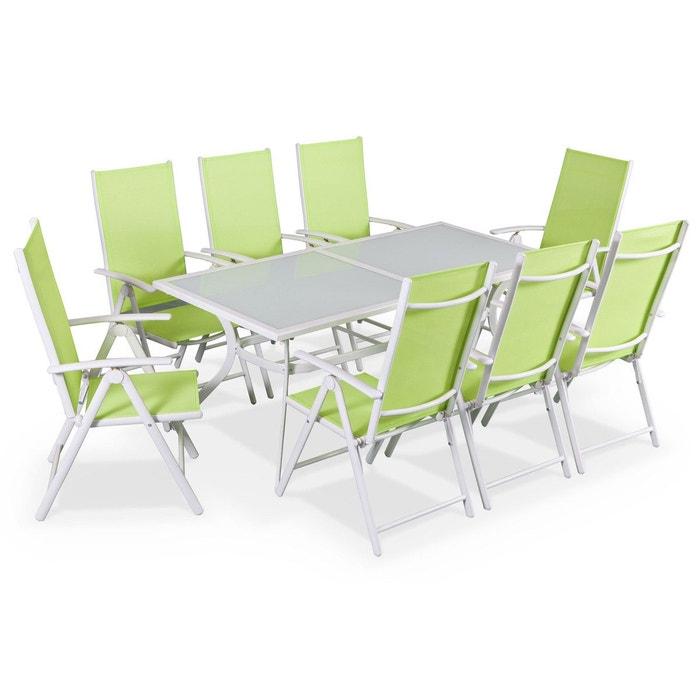 Salon de jardin en aluminium table 8 places blanc textilène ...