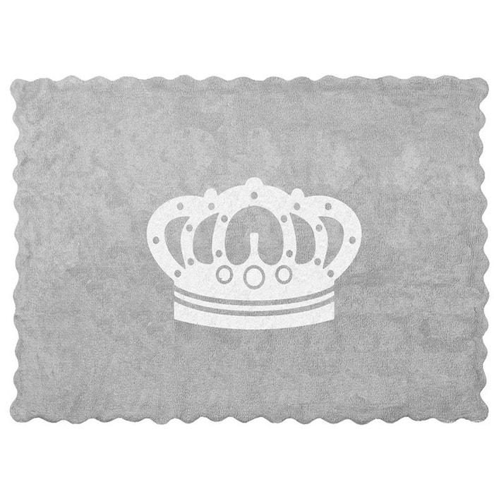 tapis enfant coton gris couronne blanche gris lilipouce. Black Bedroom Furniture Sets. Home Design Ideas
